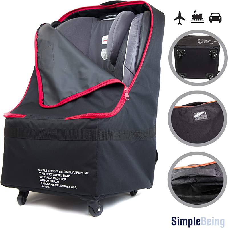 Simple Being Baby Car Seat Travel Bag Gate Check Infant Carriers Booster Cover Protector For Air Travel Black With Wheels
