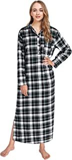 Women's Plaid Flannel Nightgowns Full Length Sleep Shirts