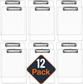 Plastic Clipboards (Set of 12) Transparent Clipboard (Clear) Strong 12.5 x 9 Inch | Holds 100 Sheets! Acrylic Clipboards with Low Profile Clip | Cute Clip Boards Board Clips