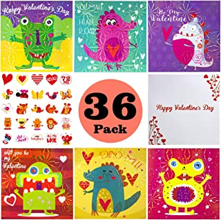 Kids Valentine Card Packs, 36 Foil Valentine Day Dinosaur Cards with Temporary Tattoos and Heart Envelopes for Kids, Classmates Exchange Children Party Favor Supplies