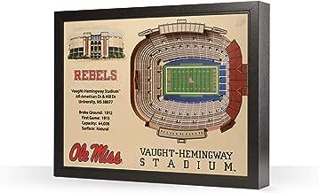 لوحة حائط فنية ثلاثية الأبعاد من Sportula NCAA Mississippi Rebels 25 طبقة من StadiumView 3D YouTheFan