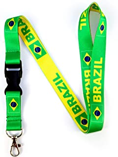 RockNerdy - Brazil Flag Reversible Lanyard Keychain w/Quick Release Snap Buckle and Metal Clasp - ID Lanyard for Keys Badges USB Whistle - ID Holder Keychain for Women Men Kids (Green or Yellow)