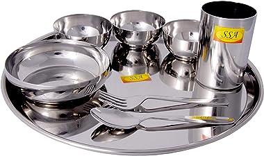 Shiv Shakti Arts® Stainless Steel (Heavy 22 Gauge) Thali, Dinner Set Dinnerware & Searvware (Plane Mirror Finish Design -