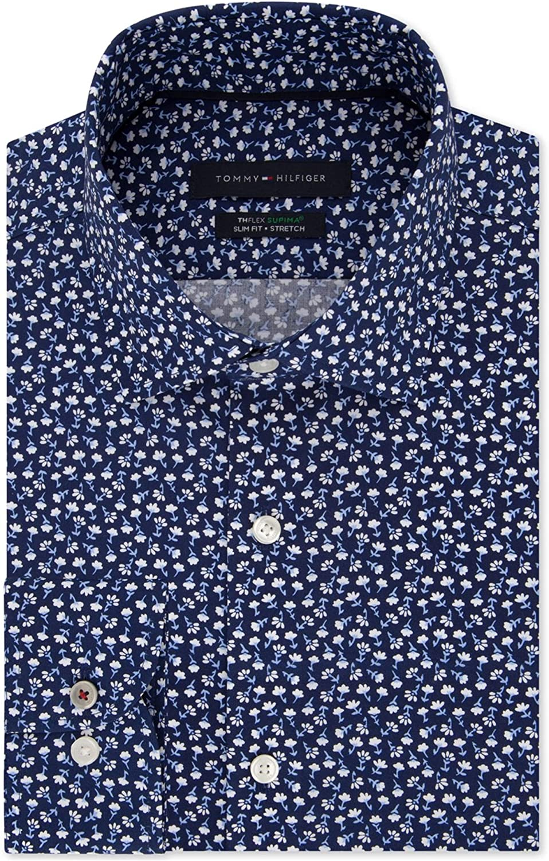 Tommy Hilfiger Mens Floral Button Up Dress Shirt, Blue, 17