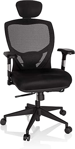 hjh OFFICE 657100 Profi Bürostuhl Venus Base Stoff/Netz Schwarz ergonomischer Drehstuhl, Rückenlehne verstellbar