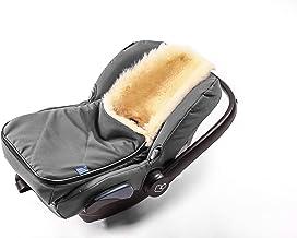 Fußsack für Babyschale Hofbrucker - kuscheliger universal Lammfellfußsack, medizinisches echtes Fell, für Tragetasche, Kinderwagen und Buggy geeignet, Design:grau