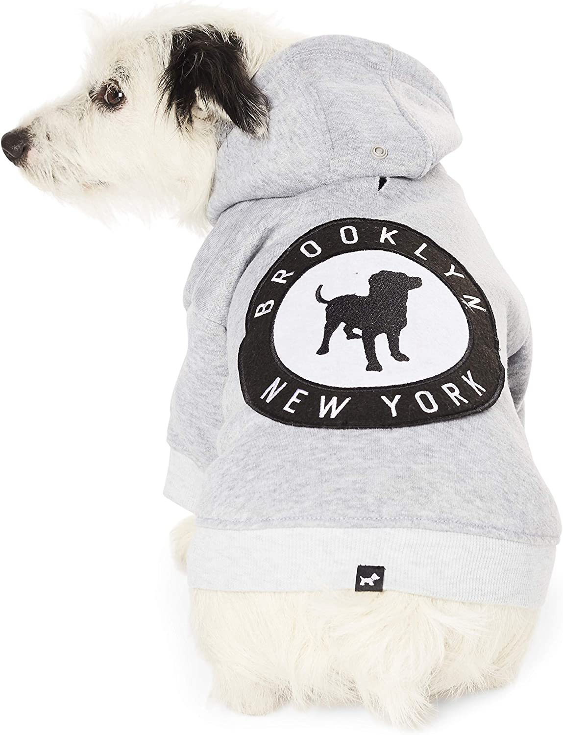 Hotel Doggy Brooklyn New York Fleece Dog Hoodie  Grey Cotton Polyester Dog Sweater X Small