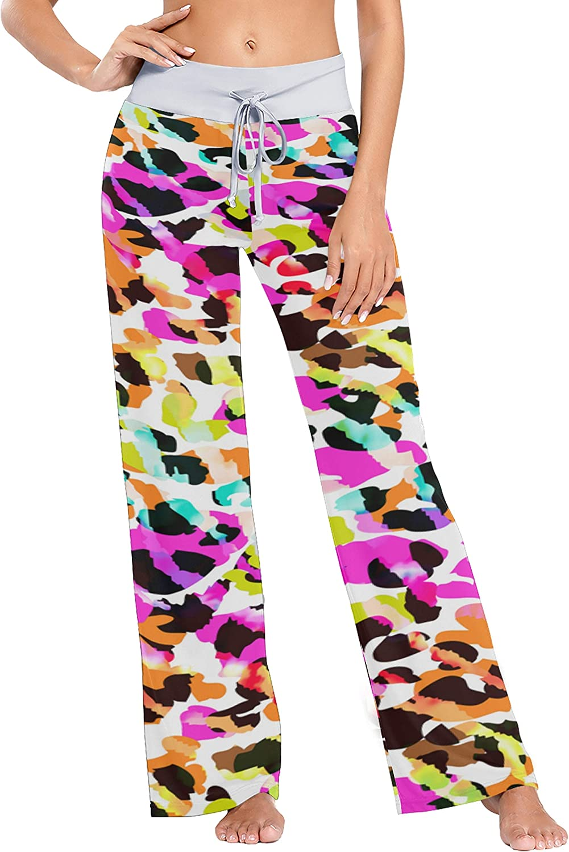 Women's Lounge Pants Bright Colors Leopard Animals Bottoms Out P