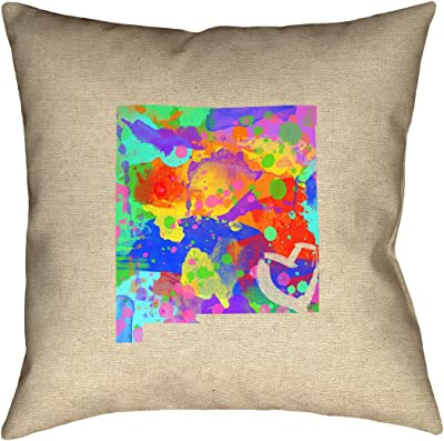 Waterproof and Mildew Proof Oregon Love Watercolor Pillow ArtVerse Katelyn Smith 20 x 20 Outdoor Pillows /& Cushions UV Properties