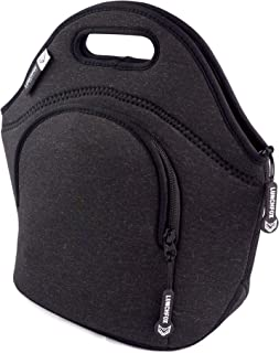 Insulated Lunch Bag for Women/Men by LunchFox - 'La Brea Love' Black/Dark Grey Melange - (The Original) Ultra Thick Neoprene Lunch Bags/Totes - The Adult 'Lunch Box' for Work, Play & Adventure