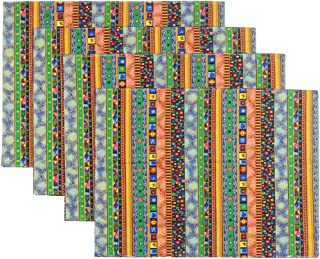 KEPSWET Table Mats Set of 4 Reversible Colorful Boho Placemats for Dining Table Cotton Washable 12x18 Inch