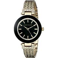 Anne Klein AK-1906BKGB Women's Swarovski Crystal Accented Mesh Bracelet Watch (Gold/Black)