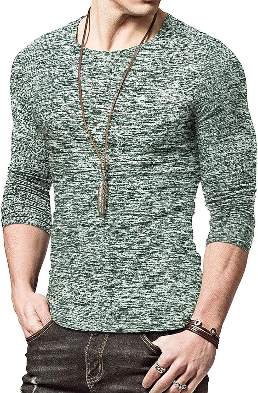 Bravetoshop Men's Crewneck Tee Shirts Slim Fit Casual Long Sleeve T Shirts Fitness Workout Basic Plain T-Shirt