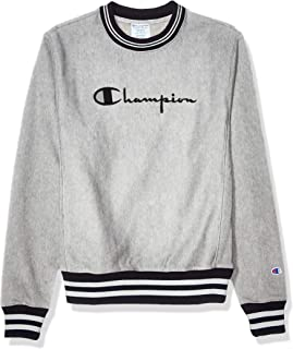 Champion LIFE Mens S3358 Reverse Weave Crew Yarn Dye Rib Trim - Full Chest Script Sweatshirt