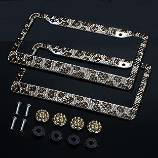 2PCS Auto Leopard License Plate Frame,Firwood Handcraft Bling Rhinestone Diamond,Aluminum Chrome Body including 4xCrystal Cap+4xScrew Fasteners