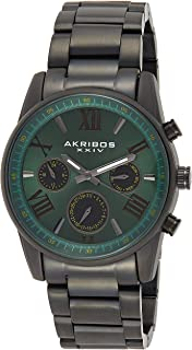 Akribos XXIV Men's Multifunction Watch - 3 Subdials Day, Date, GMT On a Stainless Steel Bracelet - AK912