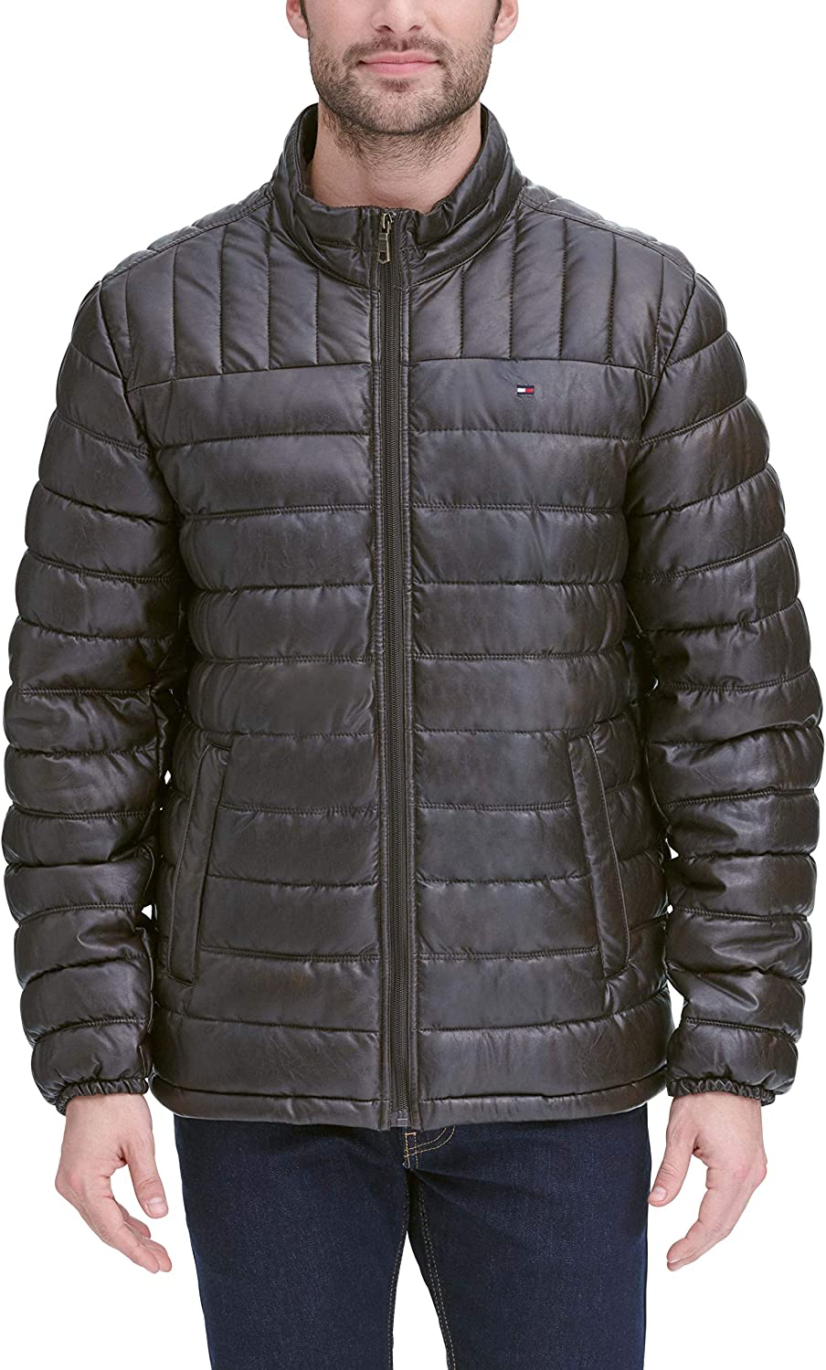 Tommy Hilfiger Men's Lightweight Quilted Faux Leather Puffer Jacket