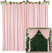 Pink Backdrop Curtain for Parties Weddings Baby Shower Birthday Photography Drape Backdrop with Golden Curtain Tiebacks 5ft x 10ft (Pack of Two)