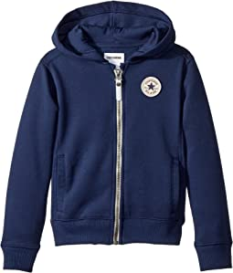 Converse Kids - Rib Panel Zip Hoodie (Toddler/Little Kids)