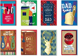 B-THERE Happy Father's Day Cards Bundle of 8 Different Handmade Greeting Cards Embellished with Love Boxed Fathers Day Cards for Dad. Envelopes Included