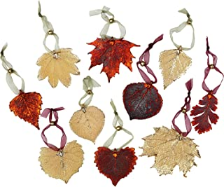 Curious Designs Leaf Ornaments - Set of Ten Iridescent and Gold Leaves. May Vary Slightly