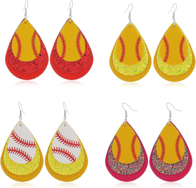 4 Pairs Softball Dangle Earrings Faux Drop unisex Leather Selling rankings Set