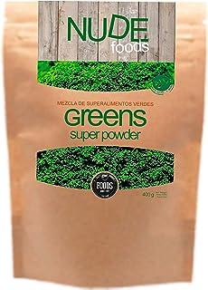 NUDE Foods Súper Greens Premium | Ecológico Certificado | Espirulina Chlorella Kelp Alfalfa Hierva Trigo Verde
