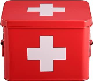 Mari Home - Botiquín de color rojo, de doble capa y 4 compartimentos, de metal, para almacenamiento. Kit de primeros auxilios no incluido - 22,5 x 16,5 x 16 cm