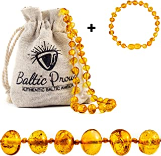 Baltic Amber Necklace and Bracelet Gift Set (Unisex Honey) - Certified Highest Quality Raw Baltic Amber