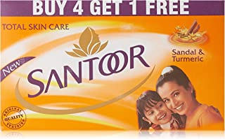Santoor Sandal & Turmeric Soap for Total Skin Care, 150g (Buy 4 Get 1 Free)