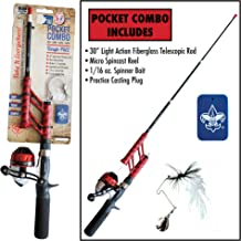 Boy Scouts of America Telescopic Fishing Rod and Spincast Reel Combo Micro Series - Tangle Free, Ultralight and Super Compact Fishing Rod Travel BSA BSOA