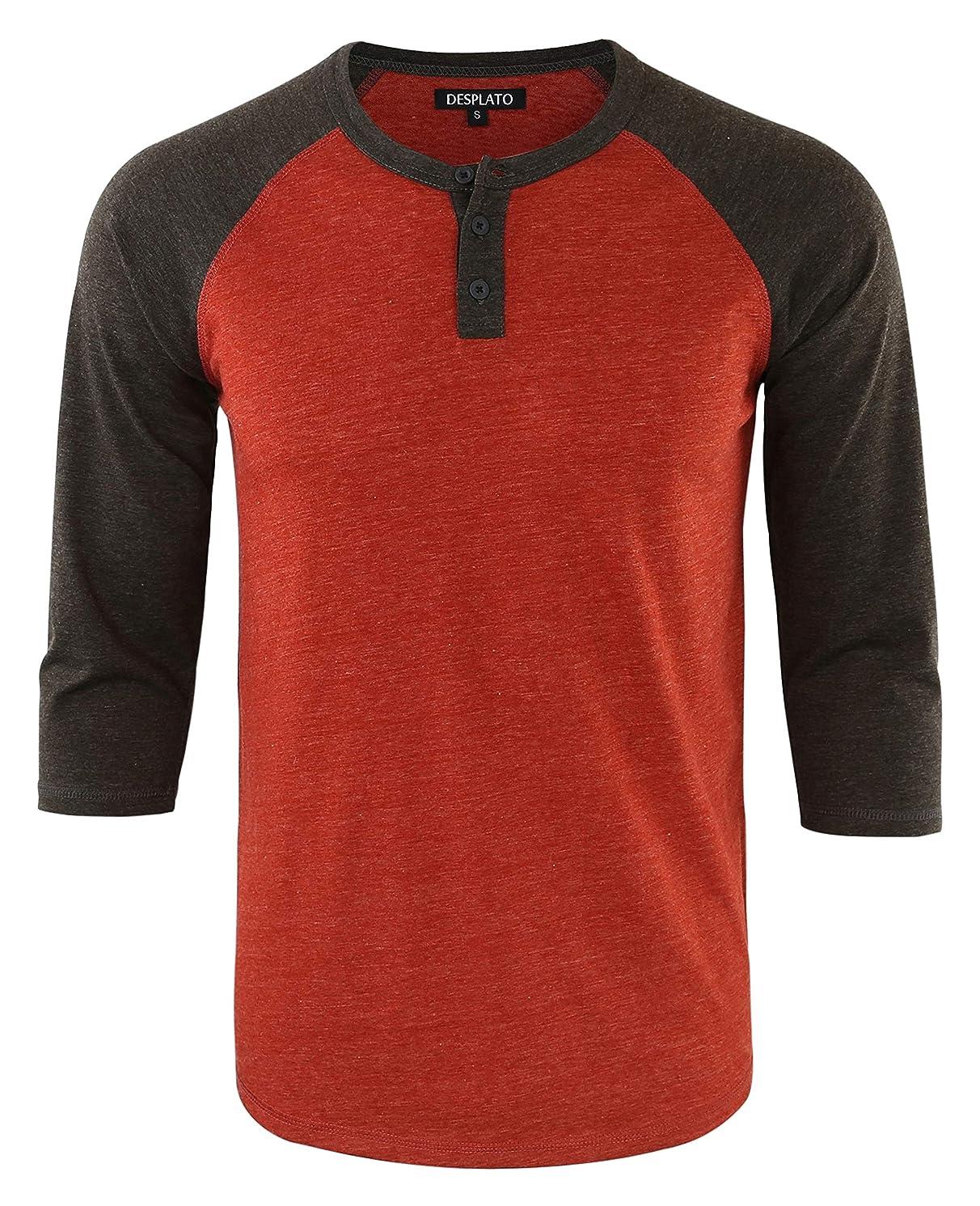 DESPLATO Men's Casual Vintage 3/4 Sleeve Henley Baseball Jersey Knit T Shirts
