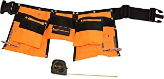 Kids Tool Belt with 10-Foot Measuring Tape Included! Real Children's Tool Pouch/Apron W/ Real Metal Hooks. Easy Belt Clip. Great for Carpenter Costume Dress Up and Fun Construction Role Play (Orange)