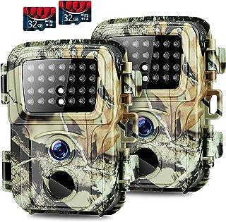 Mini Trail Camera,【2 Pack】 20MP 1080P with 32GB Card Game...