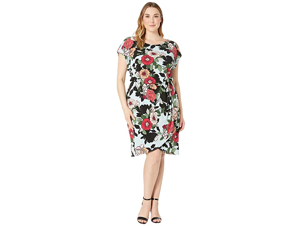 Adrianna Papell Plus Size Sweet Carolina Hibiscus Blouson Dress (Blue Multi) Women
