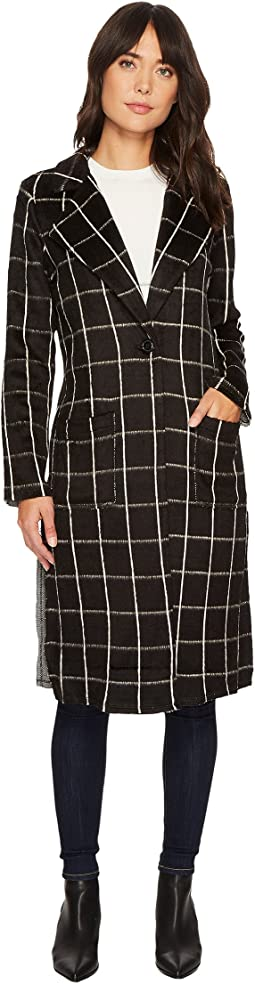 Michael Stars - Plaid Coating Long Sleeve High Slit Coat