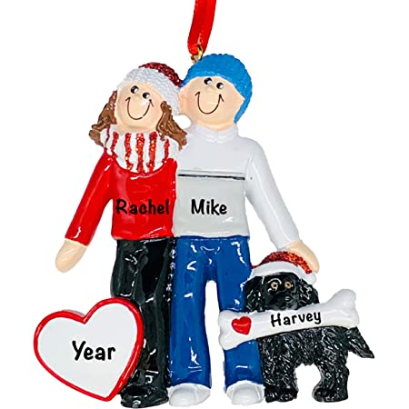 Personalized Christmas Ornaments 2021 Family and Pets – Charming Family Christmas Ornaments with Furry Friends Dog Ornament – Premium Polyresin Winter Couple with Black Dog Christmas Ornament