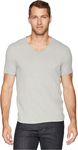 Short Sleeve Slub V-Neck with Cut Raw Edge K3595U1B