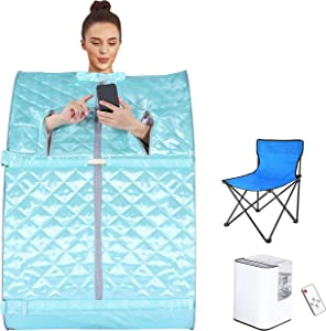 Aceshin Portable Steam Sauna, Foldable Sauna Spa with Remote Control, 9-Gear Temperature and 60 Minute Timer, Atomization Function, Personal Sauna Tent for Weight Loss, Detox Relaxation at Home