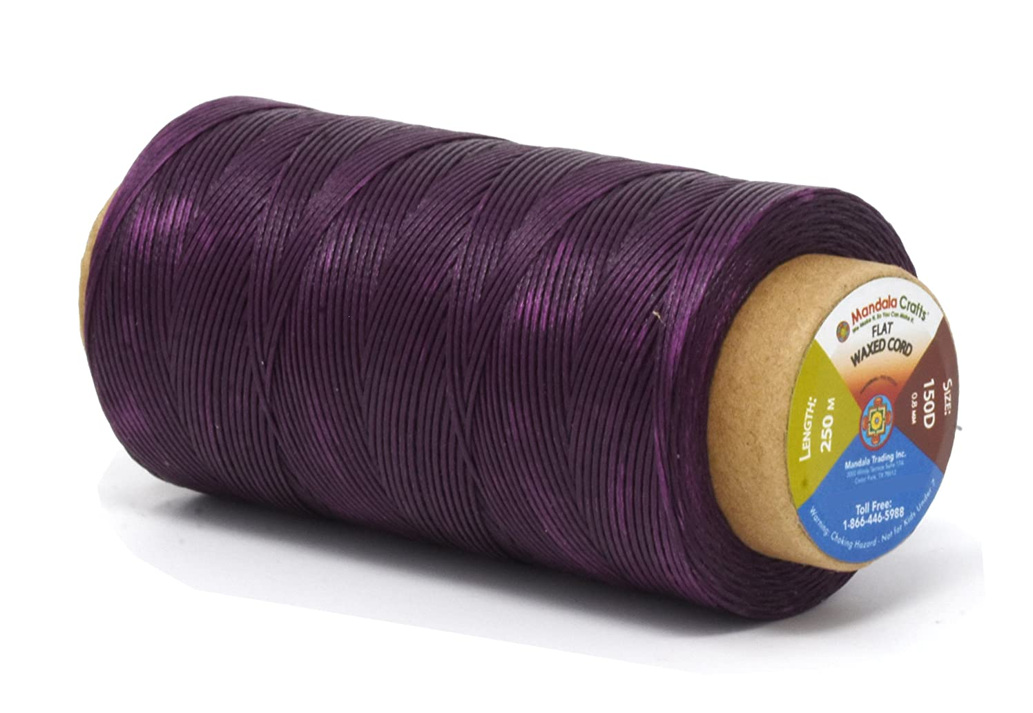 Mandala Crafts 150D 210D 0.8mm 1mm Leather Sewing Stitching Flat Waxed Thread String Cord (150D 0.8mm 250M, Purple)