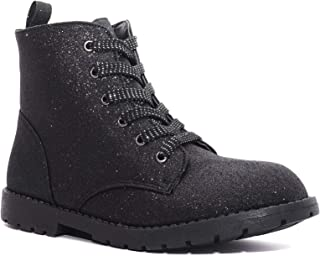 Charles Albert Girl's Glitter Boot Lace Up Low Heel Winter Shoes Toddler/Little Kids