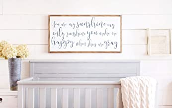 Framed Wood Sign Rustic Wooden Sign You are My Sunshine Sign You are My Sunshine Wall Art Nursery Wall Art Nursery Sign Wood 12 x 22 Inch Decorative Sign Home Decor