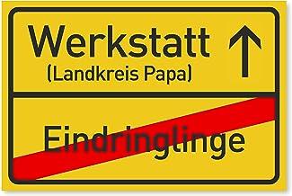 Werkstatt Schild als Geschenk für Papa zum Vatertag - Geschenkideen für den Vater zu Weihnachten oder Geburtstag - 30x20 c...
