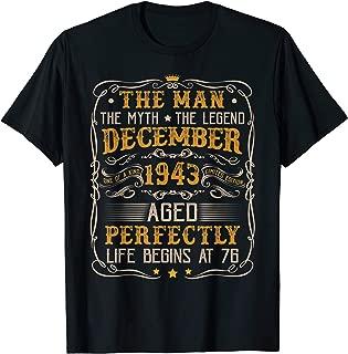 December 1943 Man Myth Legend Tee 76th Bday Gifts 76 Yrs Old T-Shirt