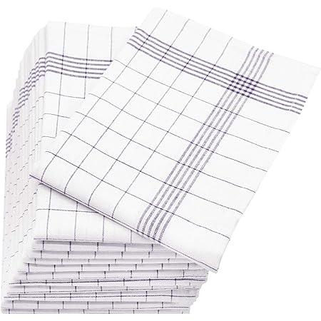 Zollner Set de 12 torchons en lin, gris-blanc (autres disponibles), 60x80 cm