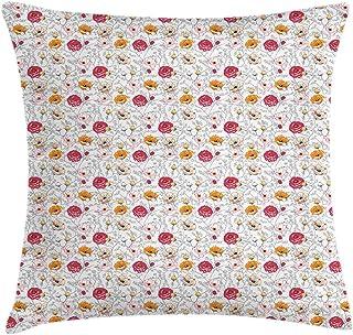 4 Piezas 18X18 Pulgadas Funda De Cojín De Almohada De Tiro Floral,Diseño De Flores Florecientes Encantadoras Ilustraciones Del Jardín Botánico,Funda De Almohada Decorativa Cuadrada