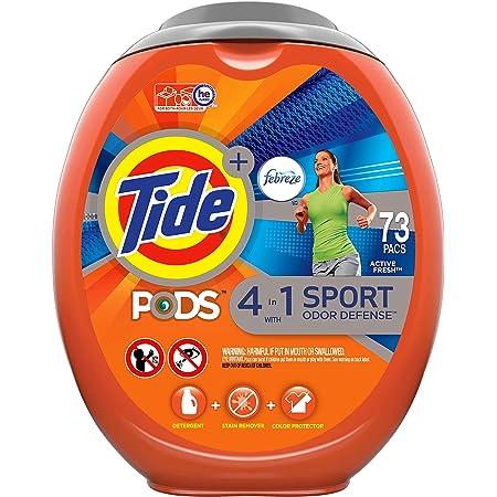 Tide PODS 4 in 1 Febreze Sport Odor Defense, Laundry Detergent Soap PODS, High Efficiency (HE), 73 Count