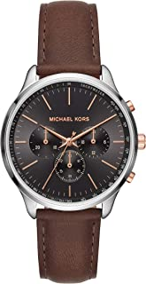 Michael Kors Sutter Men's Black Dial Leather Analog Watch - MK8722