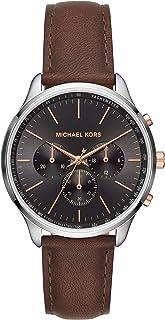 ساعة ساتر انالوج للرجال بمينا اسود وسوار من الجلد من مايكل كورس - MK8722