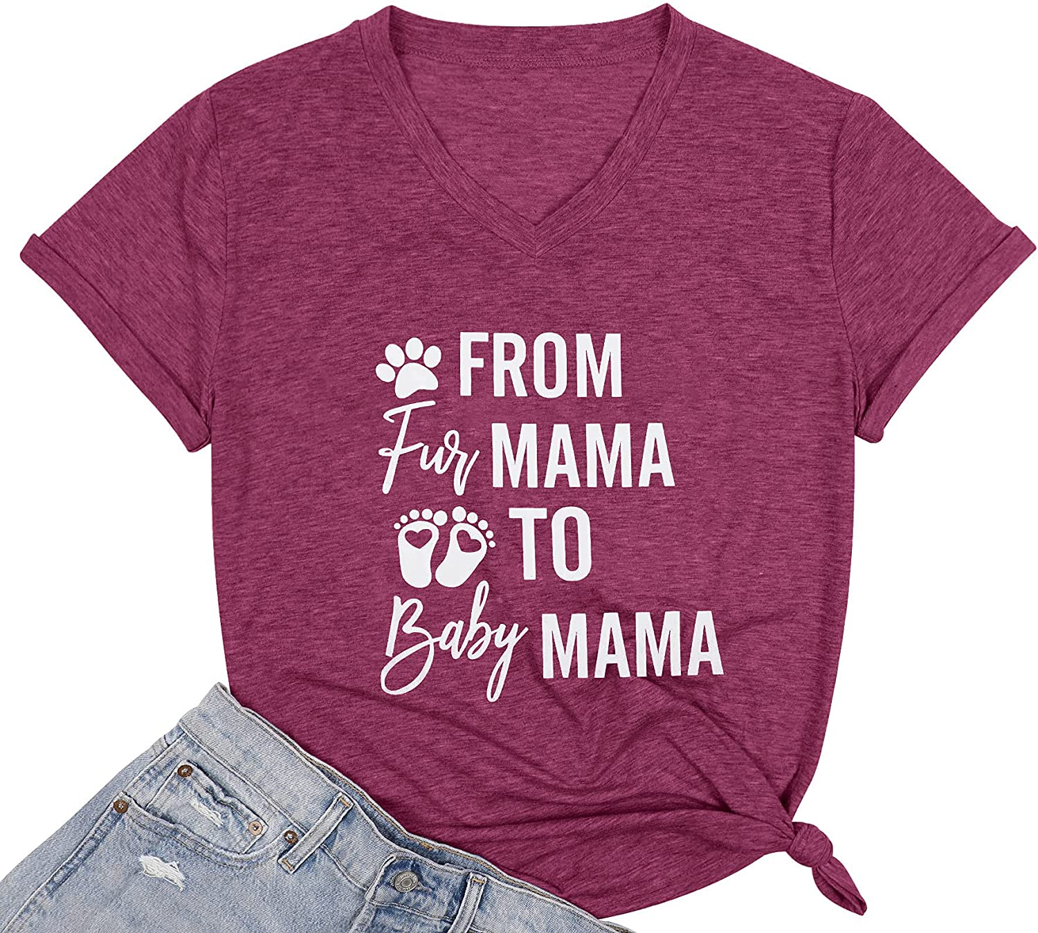Pregnancy Announcement T Shirts Cute from Fur Mama to Baby Mama Tee Shirt Funny Graphic Print Novelty Tee Top
